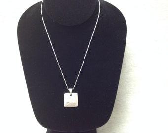 Vintage Silvertone Necklace with Harmony Pendant with Rhinestones