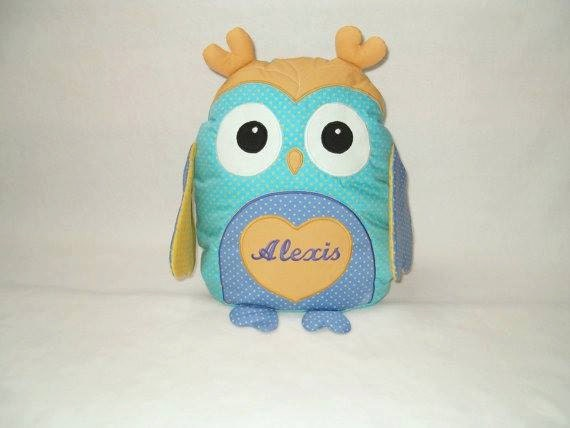 Personalized Owl Pillow - Plush Toy-  Sweet Heart Owl Baby Shower - turquoise, blue, yellow - HET -