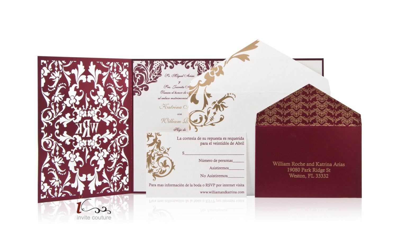 Wedding Invites Personalised: Custom Lasercut Luxury Wedding Invitations Die Cut Wedding