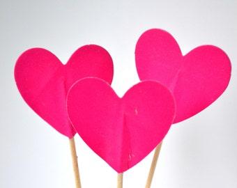 10 Pink Heart Cupcake Topper