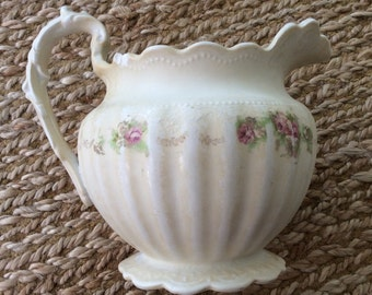 Vintage White Pitcher- White Pitcher with Floral Detail -SALE WAS 26.00 now 20.00