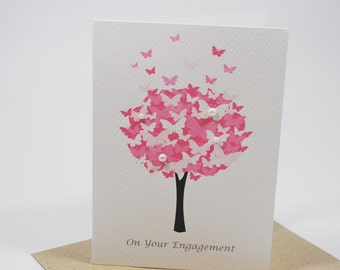 Engagement Card Congratulations  - Tree of Butterflies - ENG009 - Pink with Pearls