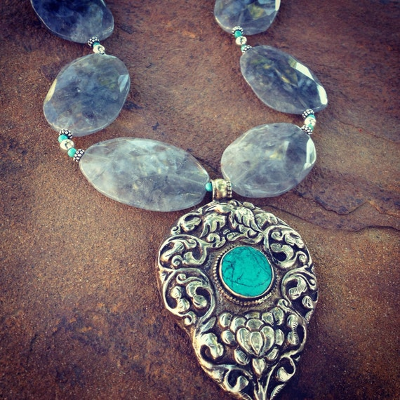 Quartz and Genuine Tibetan Sterling and Turquoise Pendant Statement Necklace and Earring Set