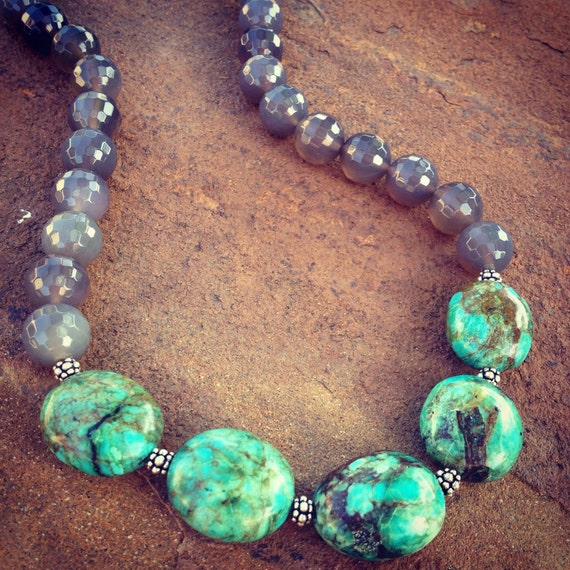Genuine Turquoise and Agate Statement Necklace and Earring Set