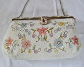 Vintage Hand Beaded Purse, French , Jorelle, Pastel Floral