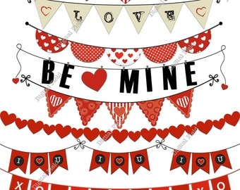 Valentines Bunting Clip Art Set - red printable digital clipart - instant download