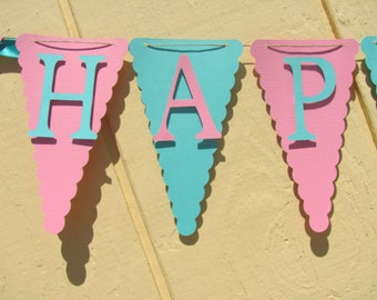 Happy Birthday Banner, Birthday Decorations, Pink and turquoise Banner