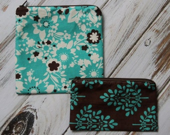 Aqua and Brown Floral Reusable Sandwich & Snack Bag Set with Zipper Closure