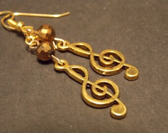 Gold Treble Clef Earrings