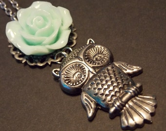 Mint Rose and Owl Necklace