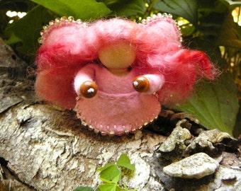 Pink Wool Felt Fairy, Peg Doll Fairy, Waldorf Inspired, Art Doll, One of a Kind, Miniature Fairy Peg Doll