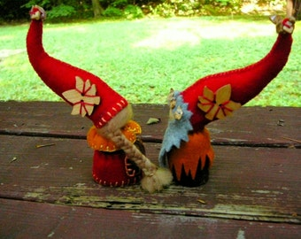 Autumn Gnome Couple, Waldorf Peg Dolls,  Small Handmade Waldorf Gnomes, Art Dolls