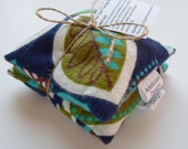 Flax Seed Pod Set, Hot & Cold Therapy, Navy Blue Leaf Print