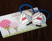 2 Piece Boat Fabric Covered Button Hair Ties