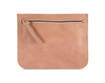 Peach leather pouch, leather wallet, women purse