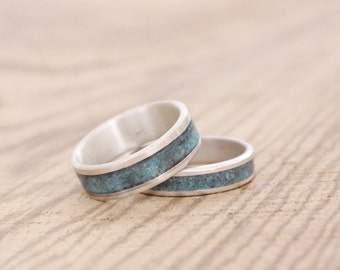 Mens Ring Sterling silver band set  wedding ring with crushed turquoise inlay promise ring