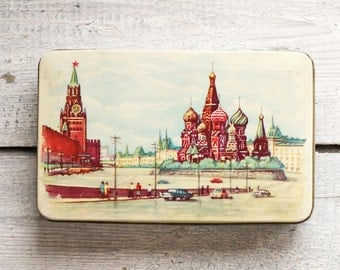 1960s Vintage USSR Soviet Russian Candy Tin Box, Kremlin Red Square Moscow, Collectibles