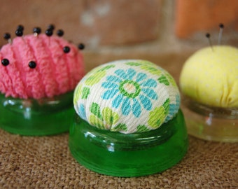 Vintage Glass Furniture Coaster Pincushions Made with Vintage Fabrics