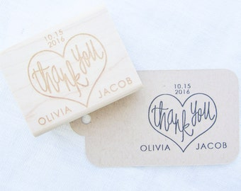 Custom Wedding Thank You Stamp - personalized wedding calligraphy stamp with names and date - H4002