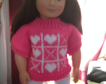 Tic Tac Toe Valentines Sweater for 18 inch doll