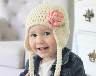 Baby Girl Earflap Hat, Crochet Flower Hat, Crochet Girl Hat, Cream/Ivory Crochet Hat with Pink Flower