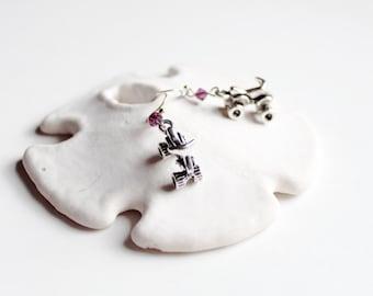 Purple and Silver 4 Wheeler Earrings