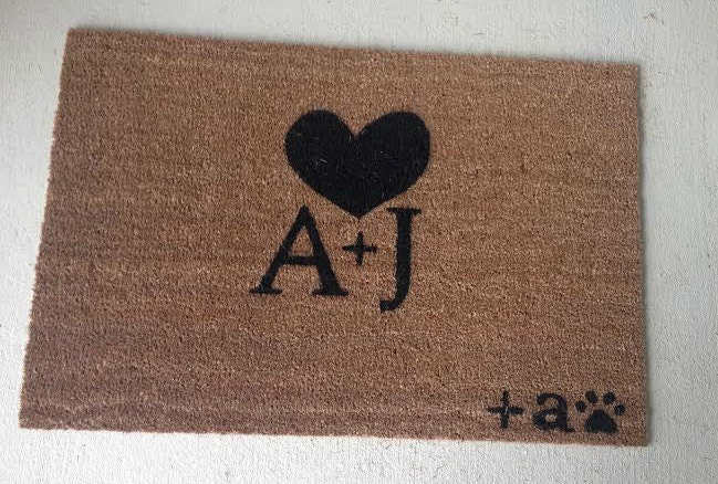 Couples Custom Made Outdoor Doormat Welcome Mat Initials