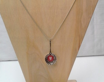 Red Heart Bottlecap Necklace