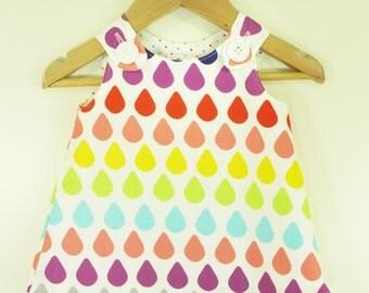 Girl dress - Raindrops Rainbow Aline dress - Baby girl - Toddler girl dress - size 0-3, 3-6, 6-12, 12-18, 18-24, 2T, 3T, 4T, 5T