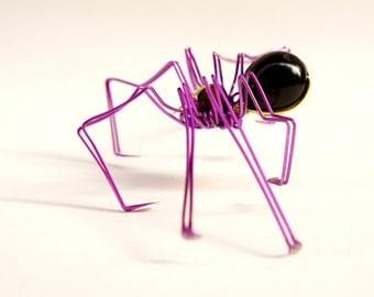 wire sculpture · spider sculpture · decorative bug · spider art · metal bug art · wire spider sculpture · purple spider · kids decor ·
