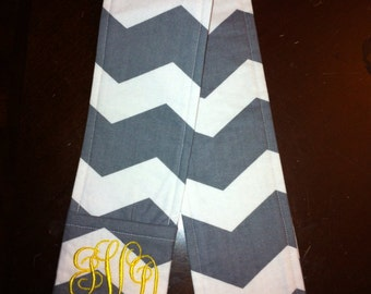 Grey and White Chevron Camera Strap Cover with Monogrammed Lens Cap Pocket