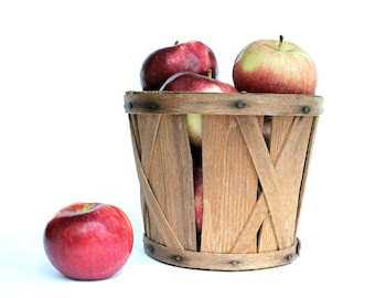 Vintage Wood Apple Basket