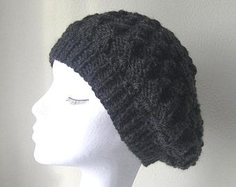 Black Slouchy hat, handknit slouchy hat, Winter hat, black beanie hat, Winter accessories, uk hats, ladies hat, slouchy beanie hat