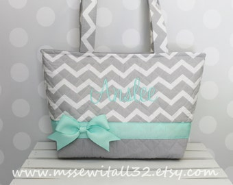 Gray Chevron (You Pick the Accent Color) Quilted Purse / Tote / Diaper Bag