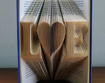 Folded Book Art - Boyfriend Gift - Girlfriend Gift - Monogrammed - Two Initials - Anniversary Gift For Men -  Paper Anniversary Gift