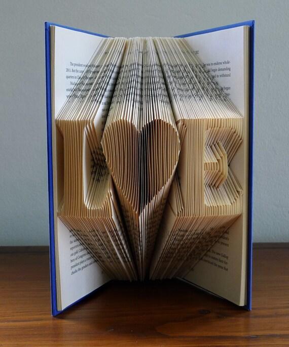 Folded Book Art - Boyfriend Gift - Girlfriend Gift - Monogrammed - Two Initials - Anniversary Gift For Men -  Paper Anniversary Gift