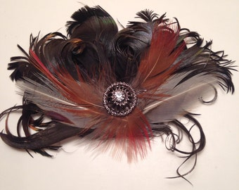 Beautiful Feather Fascinator Hair Clip/Brooch Natural Silver Tip Turkey and Red Tipped Pheasant Feathers  Rhinestone Accent