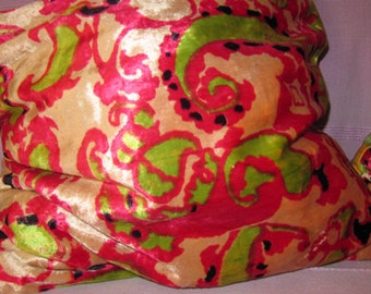 2 Pillow Cases Cushion Covers Velvet and Printed Cotton Zipper Paisley