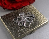 Sale Big Silver Octopus Cigarette Case Steampunk Gothic Victorian Business Card Case Vintage Inspired Smoking Accessories