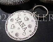 """D2E customized personalized engraved hand stamped """"Nana"""" Grandmother  key chain, on aluminum."""