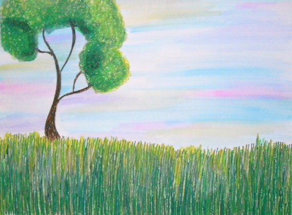 Lonesome Tree Print, 8x10 Lustre Print, Original Colorful Pastels and Watercolors Tree Art Green Tree Nature Gift Idea Spring Summer Drawing