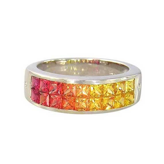 Multicolor Sunset Sapphire & Diamond Invisible Set Ring 14K White Gold (2.02ct tw) : sku 1471-14k-wg