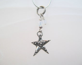 Charm necklace star sterling silver and opal white crystals