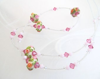 Necklace pink rose & orange glass art lampwork beads small, crystals, single strand