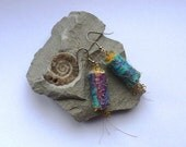 Earring/s Turquoise & Blue fabric stitched dangly