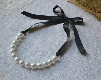 Elizabeth: Large Pearl Necklace with Ribbon Tie - FULLY CUSTOMIZABLE