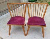 Reserved for Lucy. 1950's Conant Ball Ink stamped side chairs #7402 set of 2  Spindle backs solid maple