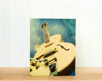 "Sun Studios Guitar Sign Photo Art Block 'Bigsby' - Limited Edition Fine Art Image Transfer on 8""x10"" Wood Panel by Patrick Lajoie"