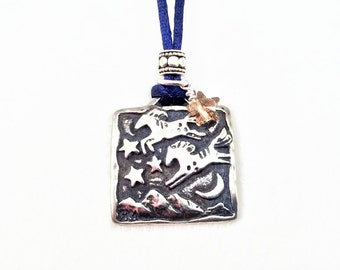 Pewter Horse Necklace - Jumped Over the Moon