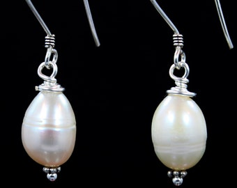 Luscious sterling and white potato pearl earrings